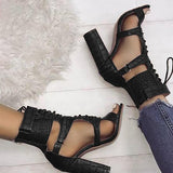 Bonnieshoes Lace-up Cutout Chunky Heel Sandals