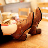 Bonnieshoes British Style Carved Classy Lace Up Oxford Shoes