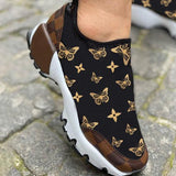 Bonnieshoes Letter Print Lace-Up Women Sneakers