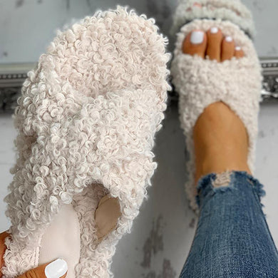 Bonnieshoes Solid Color Crisscross Fluffy Flat Slippers
