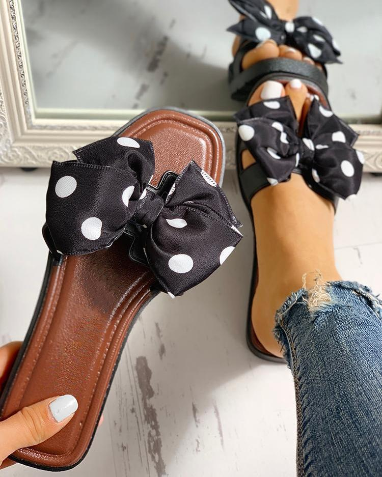 Bonnieshoes Bowknot Design Open Toe Slippers