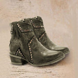 Bonnieshoes Vintage Zipper Boots Fashion Block Heel Boots