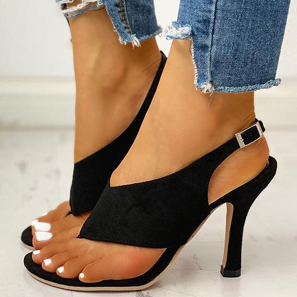 Bonnieshoes Toe Post Slingback Thin Heeled Sandals