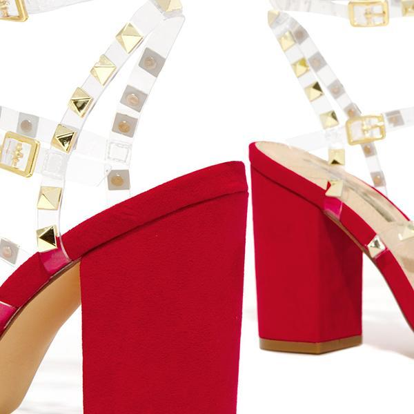 Bonnieshoes Gold-Tone Studs Red Single Sole Hee Sandals