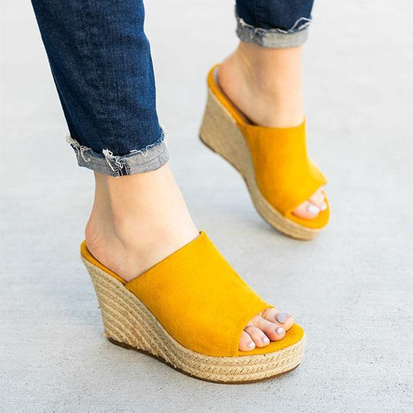 Bonnieshoes Chic Slip-On Espadrille Wedges Sandals