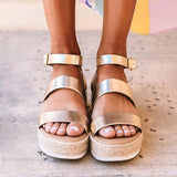 Bonnieshoes Aummer Espadrille Buckled Ankle Straps Sandals
