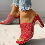 Bonnieshoes Glitter Hot Stamping Open Toe Slingback Chunky Heeled Sandals