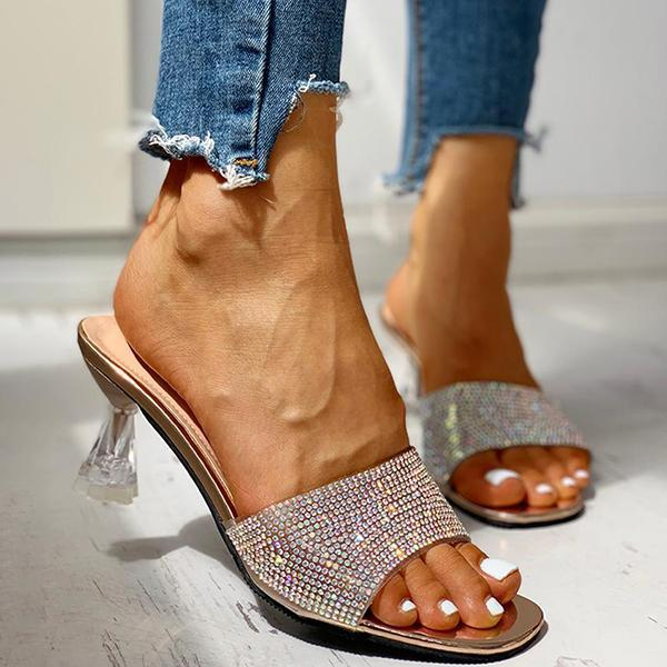Bonnieshoes Glitter Studded Open Toe Thin Heels Sandals