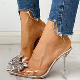 Bonnieshoes Studded Pointed Toe Transparent Thin Heels