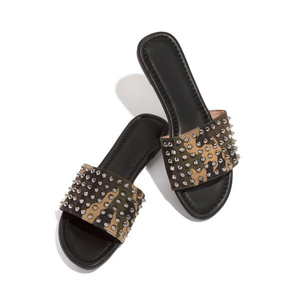 Bonnieshoes Studded Spiked Strap Lightly Padded Insole Slippers