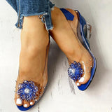 Bonnieshoes Studded Flower Design Transparent Wedge Sandals