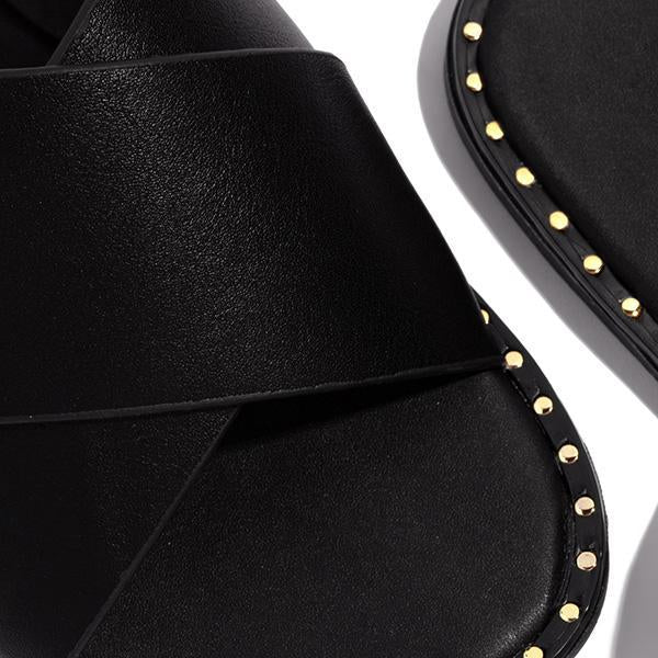 Bonnieshoes Strap Crossover Detail Cushioned Insole Slippers