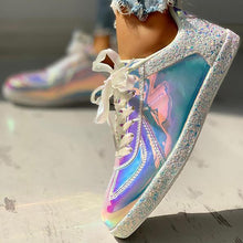Load image into Gallery viewer, Bonnieshoes Fashion Glitter Colorblock Lace-up Sneakers