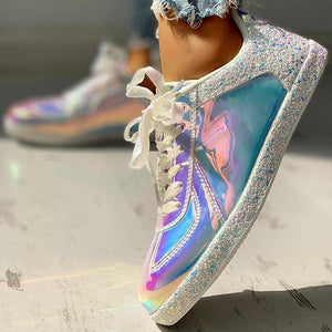 Bonnieshoes Fashion Glitter Colorblock Lace-up Sneakers