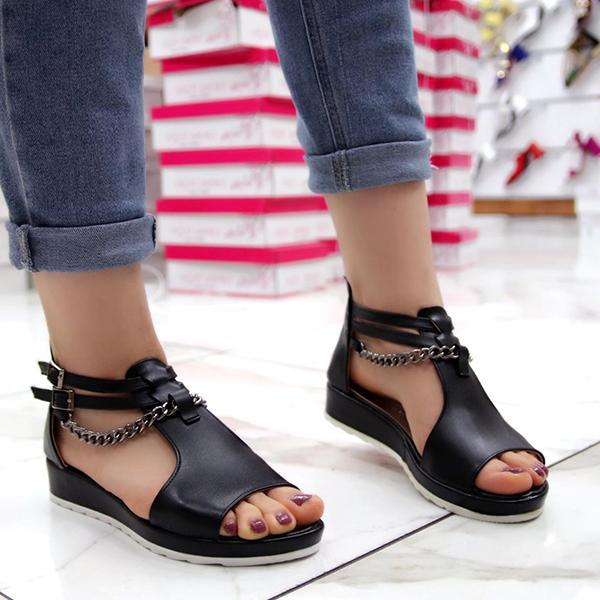 Bonnieshoes Casual Cool Chain Wedge Heel Sandals
