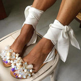 Bonnieshoes Women Pearl Ankle Strap Flat Wedding Sandals