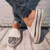 Bonnieshoes Women Large Size Rhinestone Flat Slippers