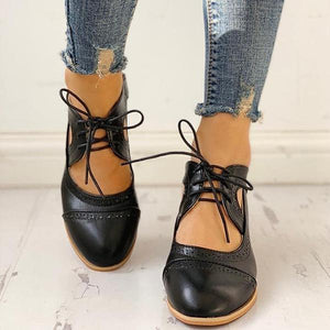 Bonnieshoes Lace-Up Cut Out Chunky Heels
