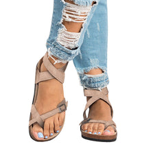 Load image into Gallery viewer, Bonnieshoes Roman Sandals Buckle Peep-toe Flats