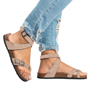 Bonnieshoes Roman Sandals Buckle Peep-toe Flats