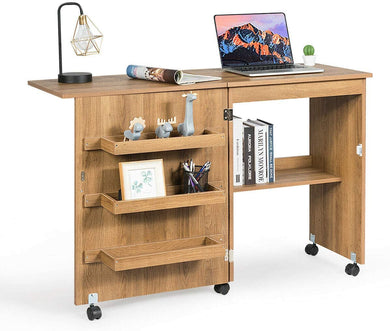Craft Cart with Storage Shelves and Lockable Casters Folding Sewing Table