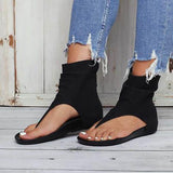Bonnieshoes Hollow out Back Zipper Flat Booties