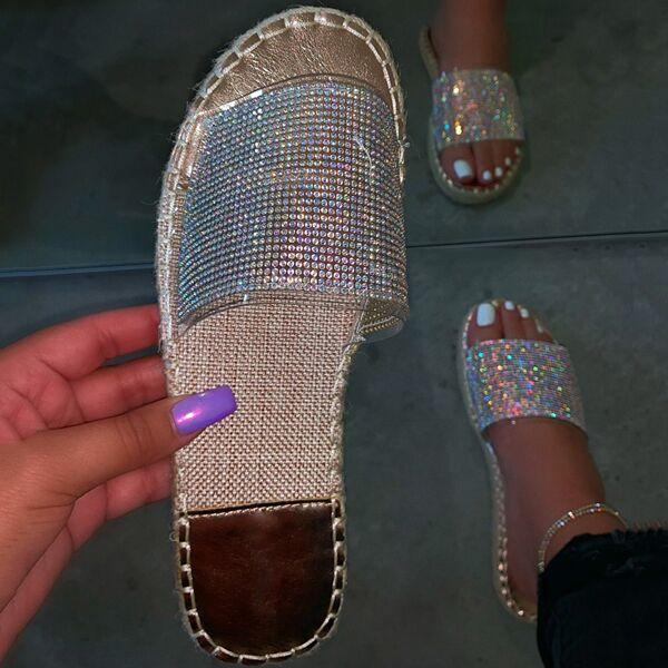Bonnieshoes Fashion Stylish Clear Strap Rhinestones Slippers