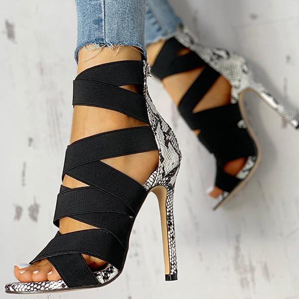 Bonnieshoes Lace-Up Bandage Patchwork Snakeskin Thin Heeled Sandals