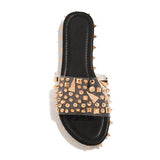 Bonnieshoes Multi-Sized Studs Clear Strap Slippers