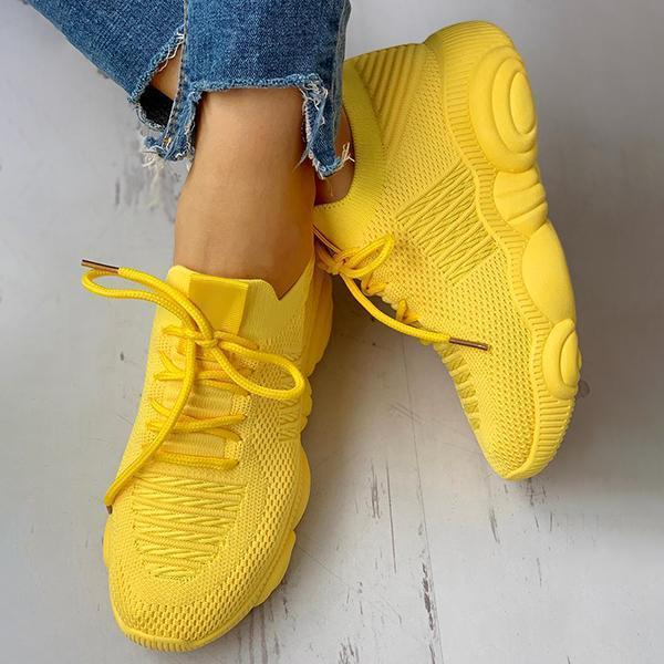 Bonnieshoes Non-Slip Knitted Breathable Lace-Up Yeezy Sneakers