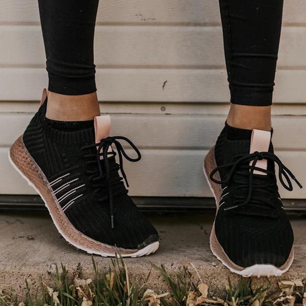 Bonnieshoes Comfy Pink Stripe Athletic Sneakers