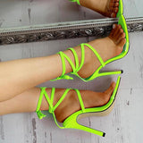 Bonnieshoes Transparent Strap Lace-Up Thin Heels