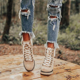 Bonnieshoes Platform Lightweight Ankle Lace-Up Boots