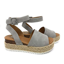 Load image into Gallery viewer, Bonnieshoes  Espadrilles Ankle Strap Wedge Sandals