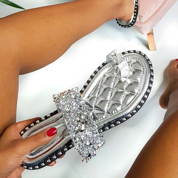 Bonnieshoes Fashion Embellished Shiny Open Toe Slippers