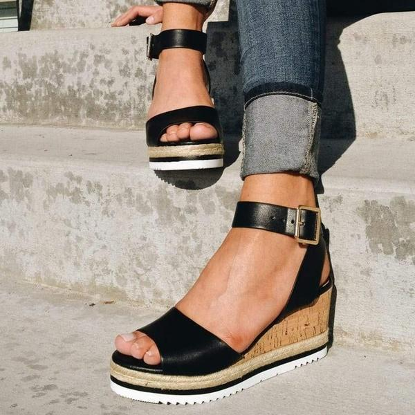 Bonnieshoes Casual Daily Comfy Adjustable Buckle Wedges