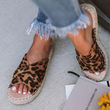 Bonnieshoes Fashion Tess Leopard Espadrille Sandals