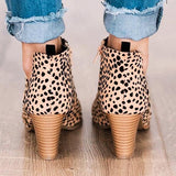 Bonnieshoes Fashion Stylish Pointed Toe Leopard Booties