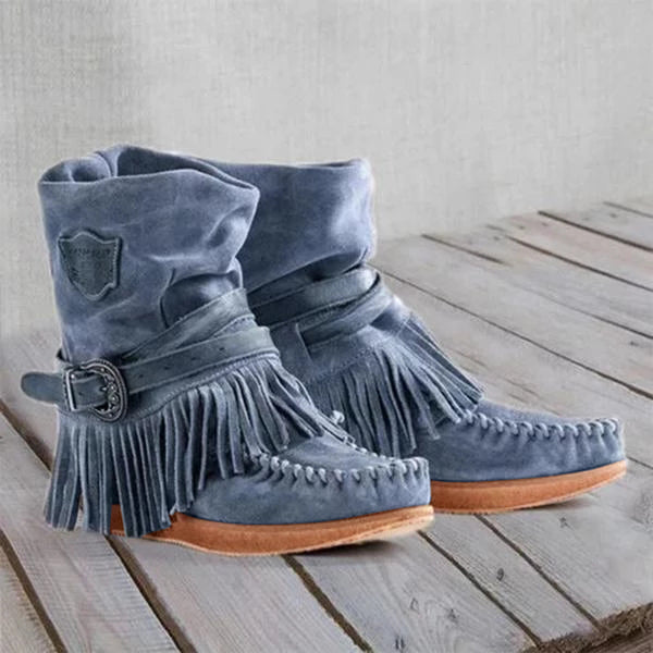 Bonnieshoes Women's Casual Flat Suede Fringe Round Toe Retro Boots