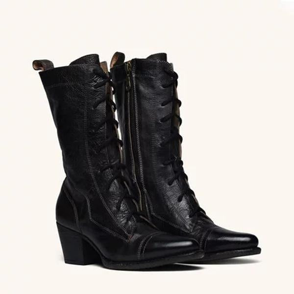 Bonnieshoes Plus Size Viantage Leather Lace Up Chunky Heel Boots