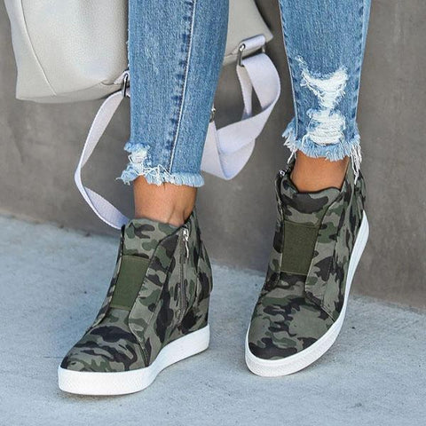 Bonnieshoes Camo Leopard Wedge Sneakers