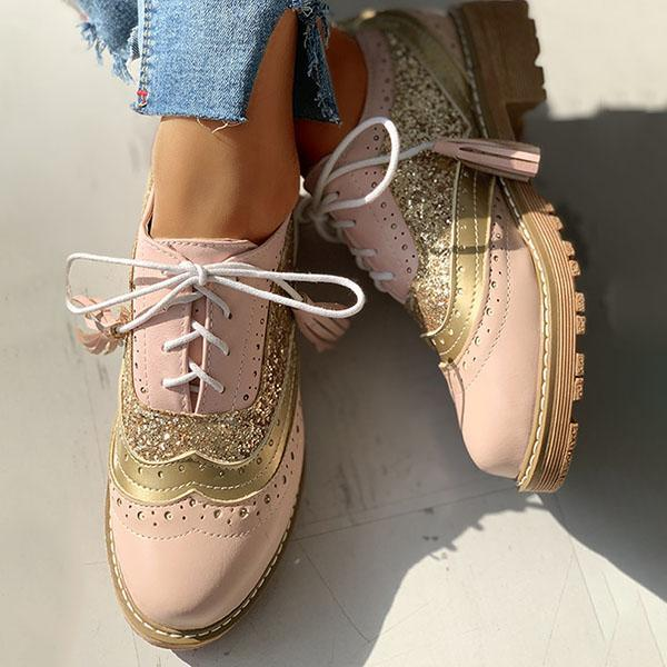 Bonnieshoes Lace-Up Sequins Insert Chunky Heeled Boots