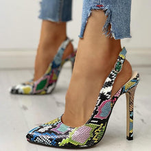 Load image into Gallery viewer, Bonnieshoes Snakeskin Print Pointed Toe Thin Heeled Sandals