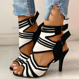 Bonnieshoes Colorblock Striped Peep Toe Thin Heeled Heels
