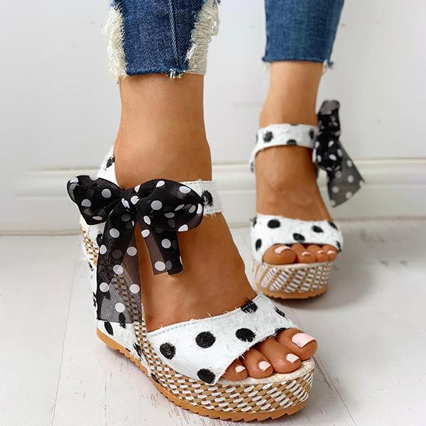 Bonnieshoes Dot Bowknot Design Platform Wedge Sandals