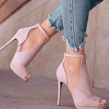 Load image into Gallery viewer, Bonnieshoes Pink Casual Plain Peep Toe Heels
