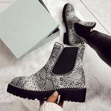 Bonnieshoes Fashion Square Heel Slip-On Boots
