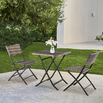 Folding Rattan Chair Three-Piece Square Table [Delivery in 3-7 days]