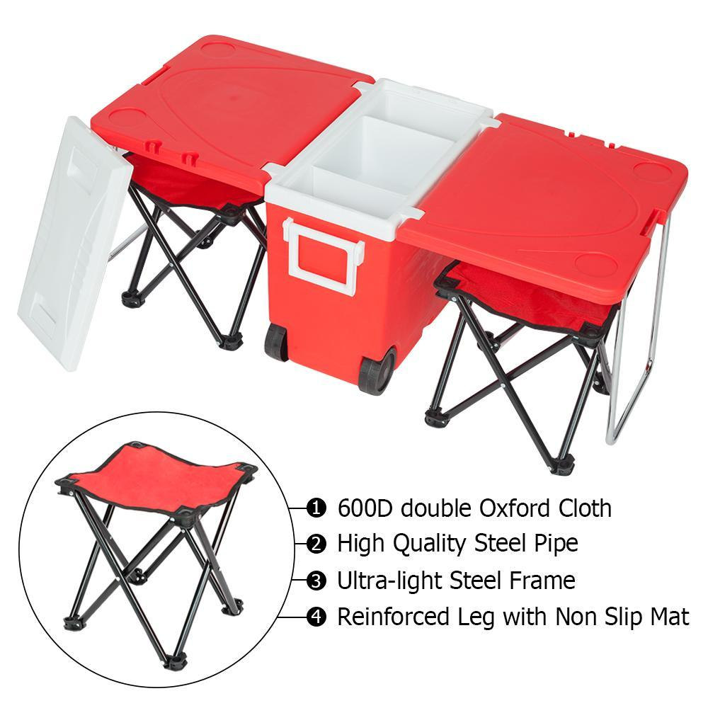 Bonnieshoes Outdoor Foldable Multi-function Rolling Cooler Upgraded Stool [Delivery in 3-7 days]