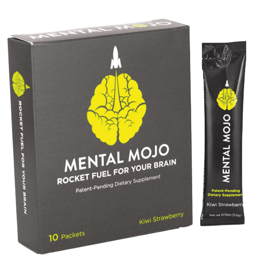 Mental Mojo 10 Stick-Pack Box Nootropic Drink Mix & Brain Supplement - Boost Energy & Enhance Focus, Clarity, Memory & Processing Speed - Zero Calories, Sugar Free - Kiwi Strawberry